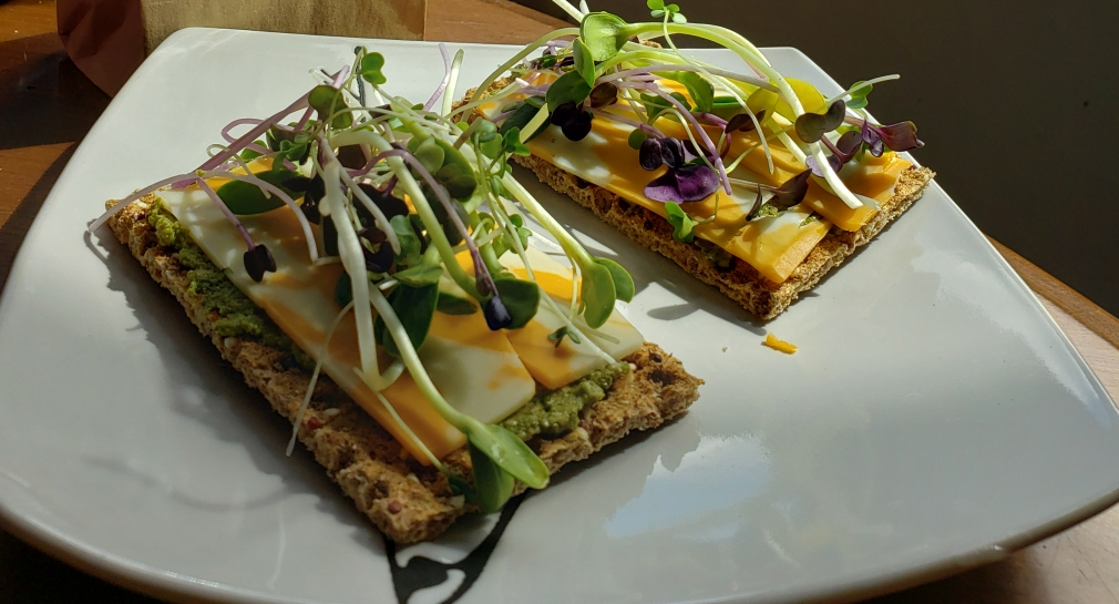 flatbread and micro greens