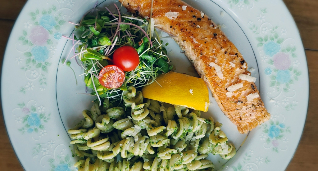 Micro green salad and micro pesto adds flavour
