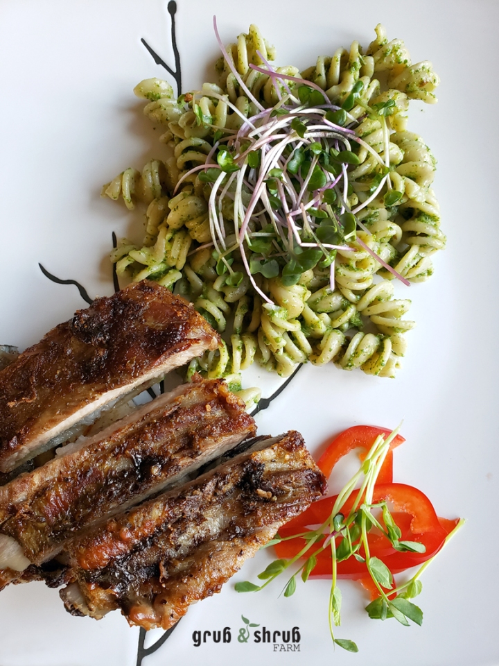 Spare ribs, sourdough pasta & Micro radish pesto
